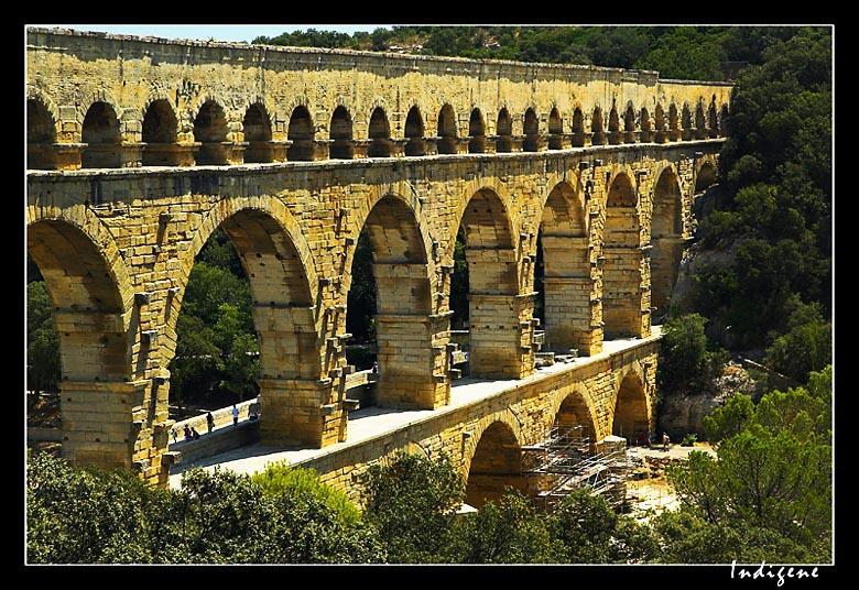Travaux de restauration du Pont du Gard