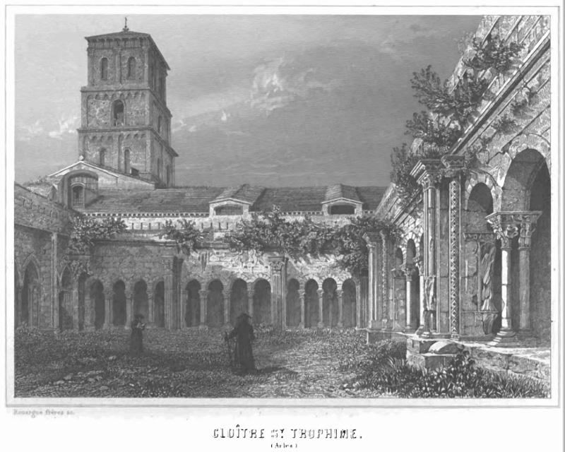Ancienne gravure du cloître de Saint-Trophime