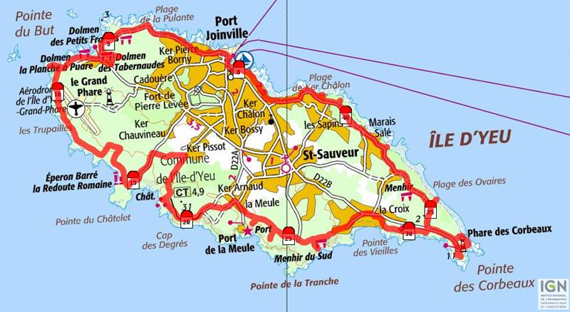 Carte de l'île d'Yeu