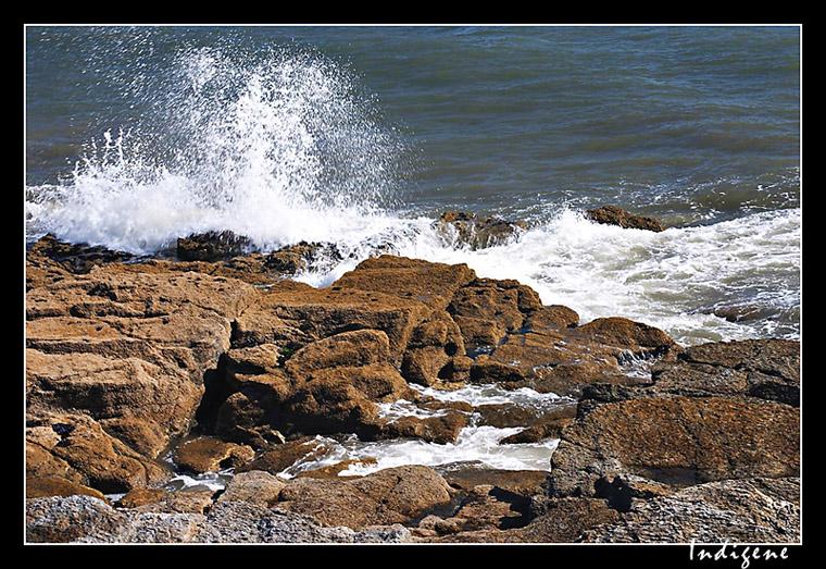 Vague s'écrasant sur les rochers