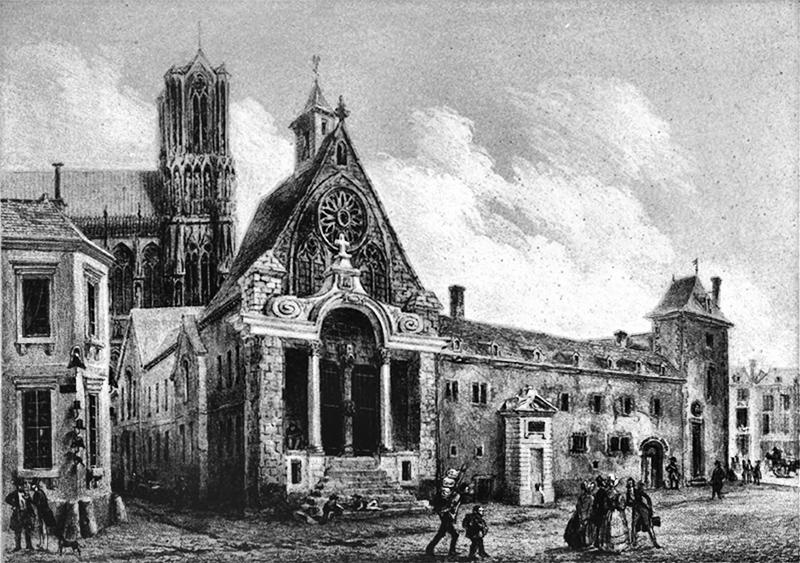 Gravure ancien Hotel-Dieu de Reims