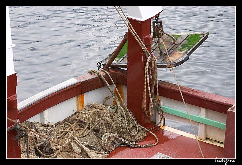 Les filets dans un bateau de pêche